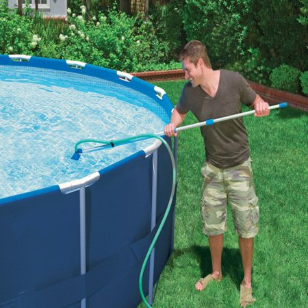 Intex Cleaning Maintenance Swimming Pool Kit w/ Vacuum Skimmer & Pole | 28002E (Index Starter Kit)