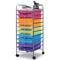 Costway 10 Drawer Rolling Storage Cart Scrapbook Paper Office School Organizer Color