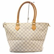 Louis Vuitton Saleya Damier Azur Mm Zip 869031 White Coated Canvas Tote  PRE-WONED 2b0a3e7ee46