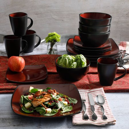 Gibson Home Soho Lounge Square Stoneware 16-piece Dinnerware Set - Patriotic Dinnerware