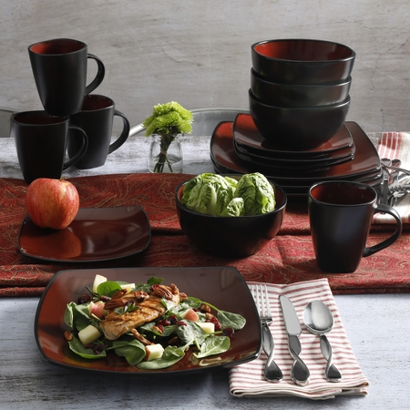 Gibson Home Soho Lounge Square Stoneware 16-piece Dinnerware Set - Halloween Dinnerware Plates