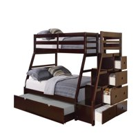 Acme Furniture Jason Twin over Full Bunk Bed with Storage Ladder & Trundle, Espresso