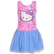 9199a1814 Hello Kitty Little Girls Pink Blue Flower Print Drop Waist Casual Dress