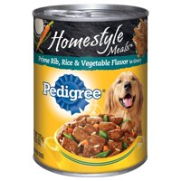(12 Pack) PEDIGREE Homestyle Meals Adult Canned Wet Dog Food Prime Rib, Rice and Vegetable Flavor, 13.2 oz. Can