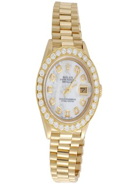 Rolex 18K Gold President 26mm DateJust 69178 VS Diamond White MOP Watch 1.38 CT.
