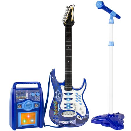 Best Choice Products Kids Electric Musical Guitar Play Set w/ Microphone, Aux Cord, Amp - (Best Musical Instruments For Kids)