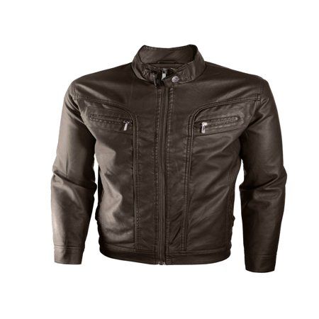 Alta Men's Motorcycle Faux Leather Jacket Quilted Lining Zip Up - Cut Leather Jacket