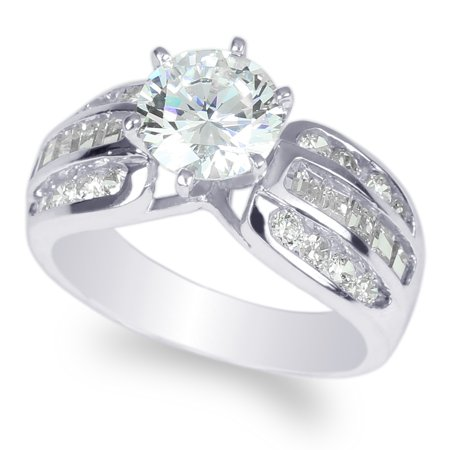 Womens 925 Sterling Silver 1.5ct Round CZ Wedding Solitaire Ring Size