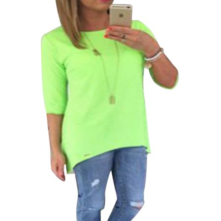 3/4 Sleeve Faux Wrap - Women 3/4 Long Sleeve Tops Loose Trim Solid Color Round Neck Plus Size T-Shirt Blouse