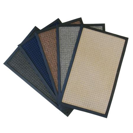 """Rubber-Cal """"Nottingham"""" Rubber Backed Carpet Mat - 16 x 24 inches - Blue Polypropylene Mat"""