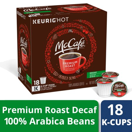 McCafe Premium Roast Decaf Coffee K-Cup Pods, Decaffeinated, 18 ct - 6.2 oz