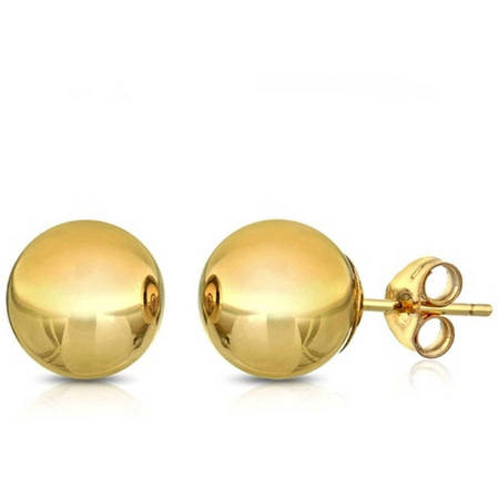 14K Solid Yellow Gold Classic Ball Stud Earrings (4 - 8mm) (Crislu Stud)