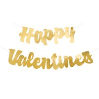 Gold Happy Valentine's Banner, 3.74ft, 2pc
