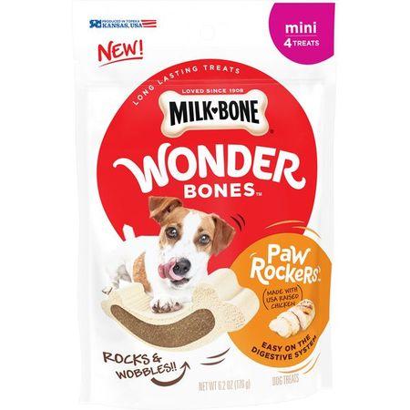 Milk-Bone Wonder Bones Paw Rockers with Real Chicken, Long Lasting Dog Treats, Mini, 6.2 (Paws & Claws Treats)