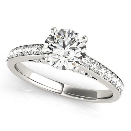 14K White Gold Single Row Prong Set Round Diamond Engagement Ring (1 3/8 ct. tw.) Size - 3 1 Ct Prong Set