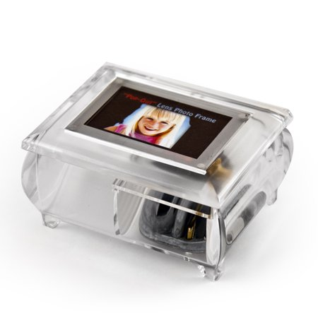 """3"""" X 2"""" Wallet Size Clear Photo Frame Music Box With New Pop-Out Lens System - Hawaiian War Chant (Johnny Noble) - SWISS"""