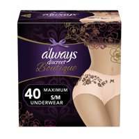 Always Discreet Boutique, Incontinence Underwear for Women, Maximum Protection, Peach, Small / Medium, 40 Count