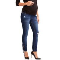 Maternity Over The Belly Skinny Jeans With Rip Details