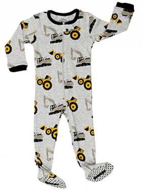 "Elowel Baby Boys footed ""Bulldozer"" pajama sleeper 100% cotton (12-18 Months, Grey)"