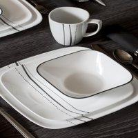 Corelle Square 16-Piece Cascading Lines Dinnerware Set