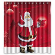 HelloDecor Merry Christmas With Santa Claus Shower Curtain Polyester Fabric Bathroom Decorative Size 66x72 Inches