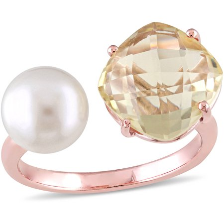 Tangelo 8-8.5mm White Round Freshwater Cultured Pearl and 3/4 Carat T.G.W. Lemon Quartz Rose Rhodium-Plated Sterling Silver Fashion Ring - Faceted Lemon Quartz Ring