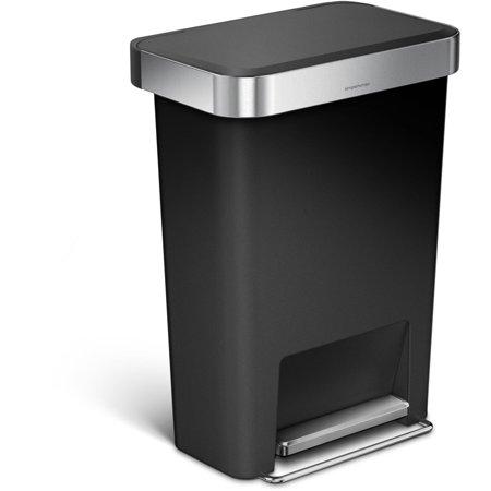 simplehuman 45 litre / 12 gallon rectangular step trash can black plastic ()