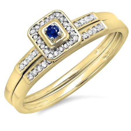 Dazzlingrock Collection 10K Round Blue Sapphire And White Diamond Halo Engagement Wedding Bridal Ring Set, Yellow Gold, Size 8.5 Blue Sapphire Bridal Set Ring