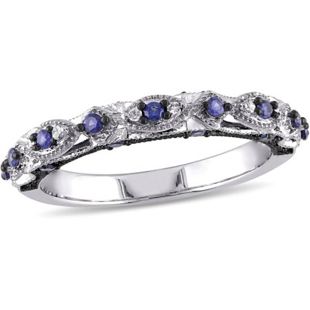 1/3 Carat T.G.W. Created Blue Sapphire and Diamond-Accent 10kt White Gold Vintage Miligrain Design Wedding Band