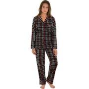 54f6e87683 Women Plaid Pajama Set Black Red White Microfleece Top PJ Pants Holiday Set