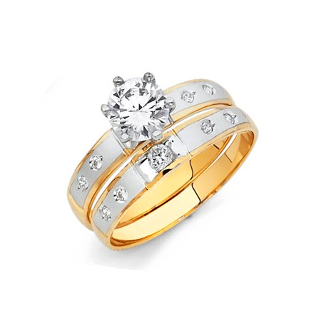FB Jewels 14K White and Yellow Gold Two Tone Cubic Zirconia CZ Ladies Wedding Band And Engagement Bridal Ring Two Piece Set Size 11](Jewel Tone Wedding)