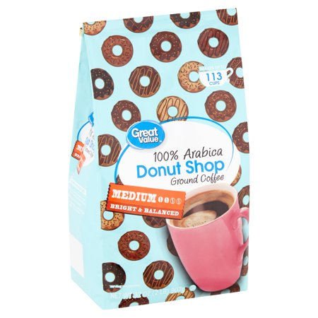 Great Value Donut Shop 100% Arabica Medium Ground Coffee, 32
