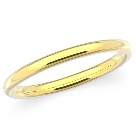 10K Solid Yellow Gold 2mm Plain Men's and Women's Wedding Band -