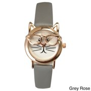 6d80ad39bce2 Women's 'Cat in Glasses' Leather Watch