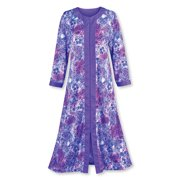 c5ecac8e8c Women s Zip Front Floral Long Robe with Long Sleeves - Comfortable  Loungewear with Side Pockets and