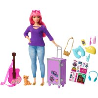Barbie Daisy Doll with Kitten, Luggage, Guitar & Travel Accessories