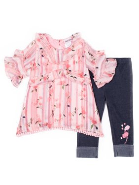 Long Sleeve Printed Chiffon Top & Capri, 2pc Outfit Set (Baby Girls & Toddler Girls)