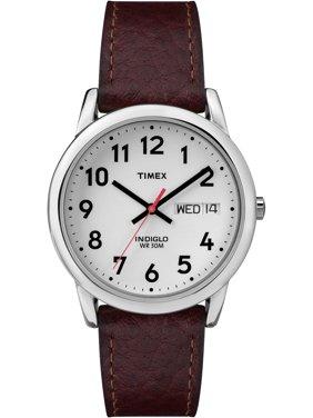 Men's Easy Reader Watch, Brown Textured Leather Strap