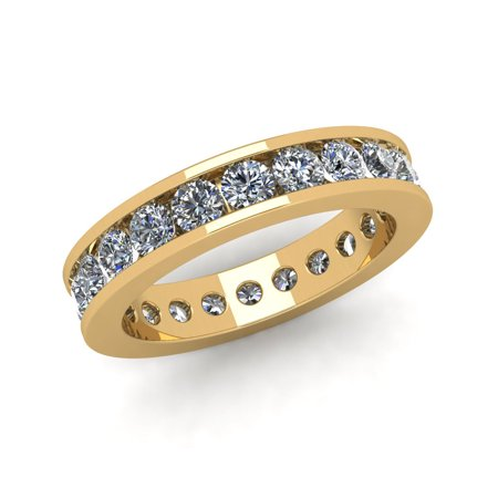 Natural 2.25Ct Round Cut Diamond Classic Channel Set Women's Anniversary Wedding Eternity Band Ring Solid 14k Yellow Gold G-H (Anniversary Eternity Band Ring)