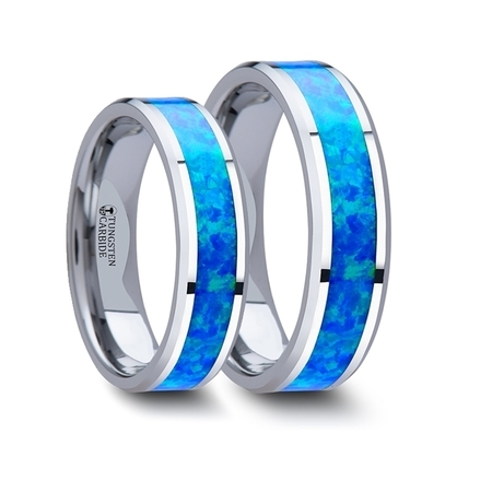 - Matching Rings Set Tungsten Wedding Band With Blue Green Opal Inlay