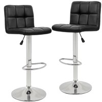 Set Of 2 PU Leather Adjustable Bar Stool Counter Height Chair With Backrest