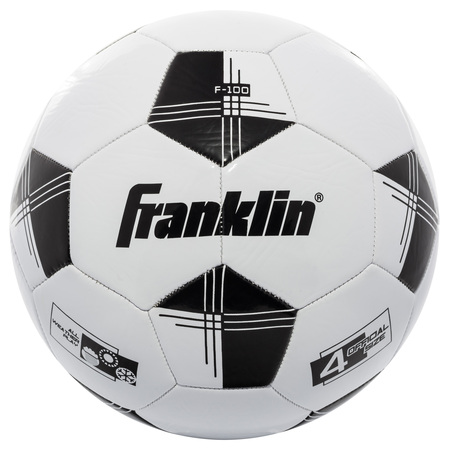 Franklin Sports Competition 100 Soccer Ball, Size 4, Black and (David Beckham Soccer Ball)