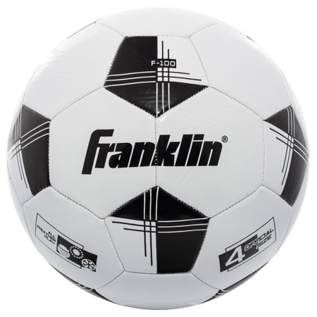 Franklin Sports Competition 100 Soccer Ball, Size 4, Black and White