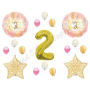 Two Much Fun 2ND Second Pink Gold Birthday Party Balloons Decoration Supplies