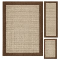 Mainstays Faux Sisal 3-Piece Area Rug Set, Multiple Colors