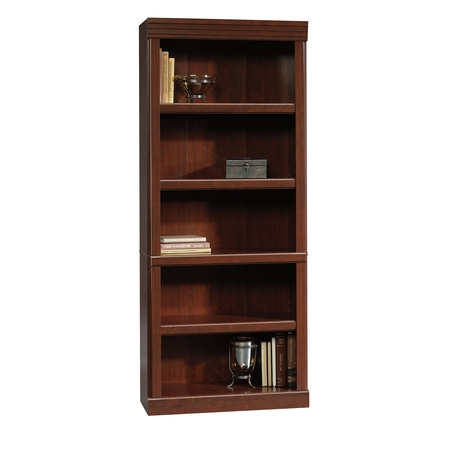 - (Set of 2) Sauder Heritage Hill 5 Shelf Library Bookcase, Classic Cherry Finish