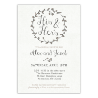 Personalized Wedding Bridal Shower Invitation - Couples Wreath - 5 x 7 Flat