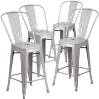 "Belleze Barstool Height Stool with Back (4 Pack), 30""-inch, Silver"