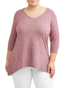 Women's Plus Size Soft Hacci Sharkbite Lattice Top