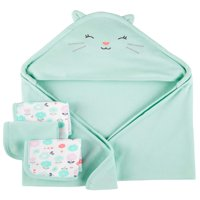 Hooded Towels & Washcloths, 4pc Set (Baby Boys or Baby Girls Unisex)